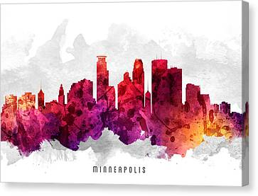 Minneapolis Minnesota Cityscape 14 Canvas Print by Aged Pixel