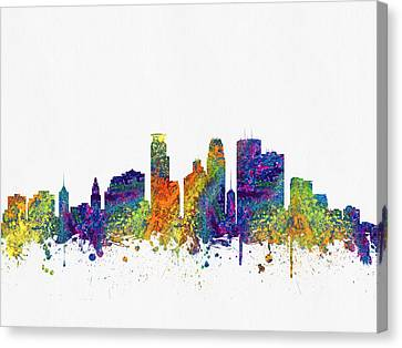 Minneapolis Minnesota Skyline Color03 Canvas Print by Aged Pixel