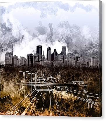 Minneapolis Skyline Abstract Canvas Print by Bekim Art