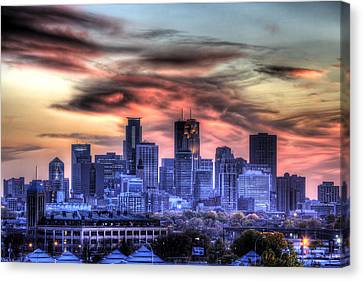 Minneapolis Skyline Autumn Sunset Canvas Print by Shawn Everhart