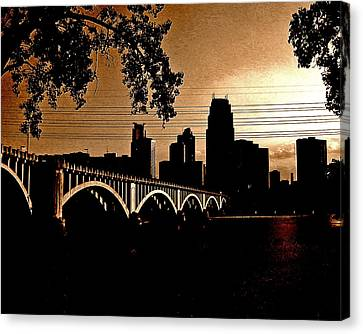 Minneapolis Skyline In Copper Canvas Print by Tom Reynen