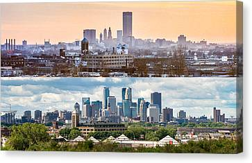 Minneapolis Skylines - Old And New Canvas Print