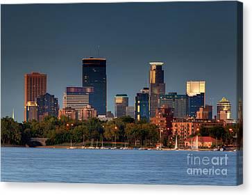 Minneapolis Skyline Photography Lake Calhoun Summer Evening Canvas Print by Wayne Moran
