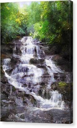 Canvas Print featuring the digital art Minnehaha Falls Summer by Francesa Miller