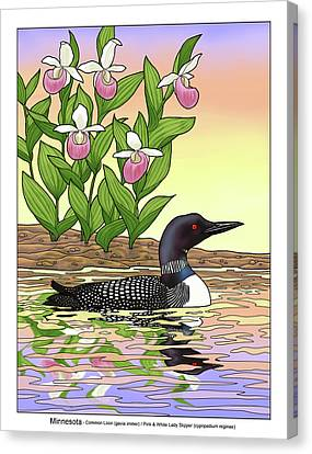 Minnesota State Bird Loon And Flower Ladyslipper Canvas Print