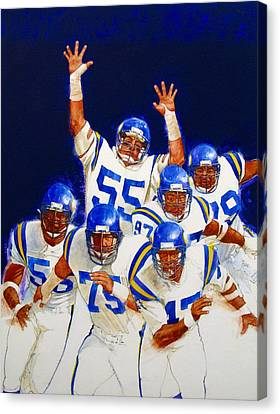 Canvas Print featuring the painting Minnesota Vikings Front Four  by Cliff Spohn