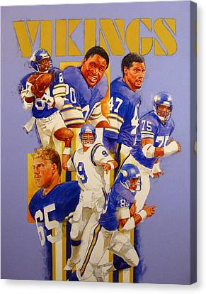 Canvas Print featuring the painting Minnesota Vikings Game Day Cover  by Cliff Spohn