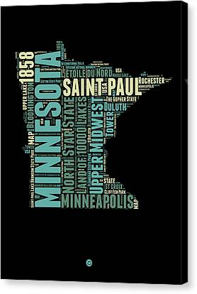 Minnesota Word Cloud Map 1 Canvas Print by Naxart Studio