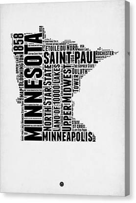 Minnesota Word Cloud Map 2 Canvas Print by Naxart Studio