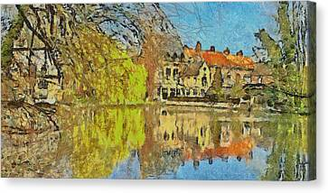 Minnewater Lake In Bruges Belgium Canvas Print