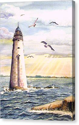 Minot Lighthouse Or The I Love You Lighthouse Canvas Print by Martha Ayotte
