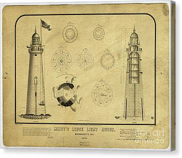 Canvas Print featuring the drawing Minot's Ledge Light House. Massachusetts Bay by Vintage