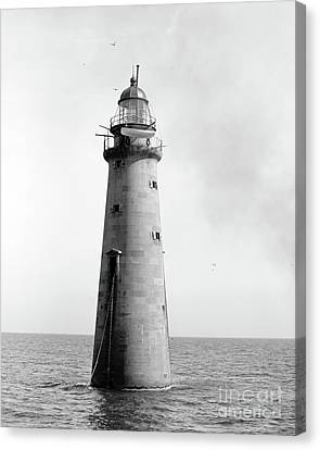 Canvas Print featuring the photograph Minot's Ledge Lighthouse, Boston, Mass Vintage by Vintage