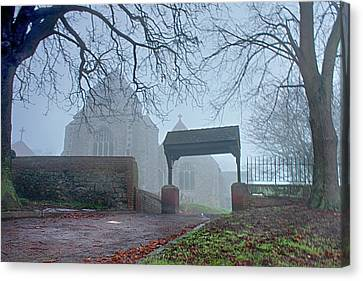 Minster Abbey Fog Bound Canvas Print by Dave Godden