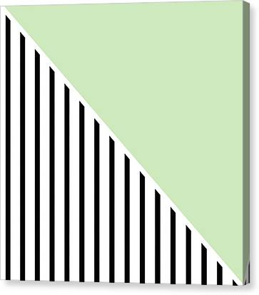Mint And Black Geometric Canvas Print by Linda Woods