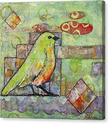Mint Green Bird Art Canvas Print