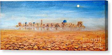 Canvas Print featuring the painting Mirage City by Arturas Slapsys