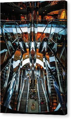Wide Angled Glass Mirror Canvas Print - Mirror Escalators Bonanza At Shopping Mall In Sydney by Daniela Constantinescu