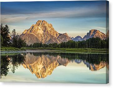 Mirror Image At Oxbow Bend Canvas Print by Andrew Soundarajan