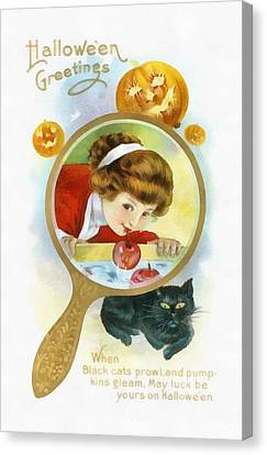 Mirror Image Bobbing For Apples Canvas Print