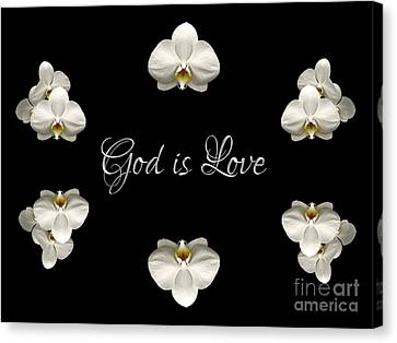Canvas Print featuring the photograph Mirrored Orchids Framing God Is Love by Rose Santuci-Sofranko