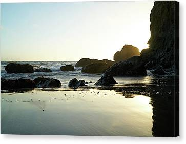 Mirrored Sky On Beach Canvas Print