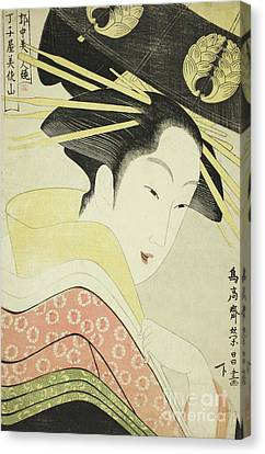 Misayama Of The Chojiya Canvas Print by Chokosai Eisho