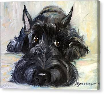 Scottish Dog Canvas Print - Mischief by Mary Sparrow