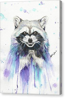 Mischievous Raccoon Canvas Print by Stephanie Yates