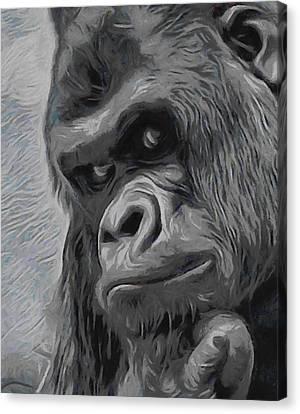 Ape Canvas Print - Mischievous Thoughts  by Ernie Echols