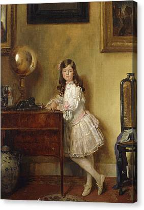 Miss Annie Harmsworth In An Interior Canvas Print by Sir William Orpen