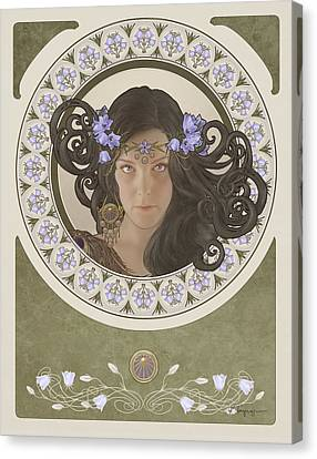 Mucha Canvas Print - Miss Bluebell by Cassiopeia Art