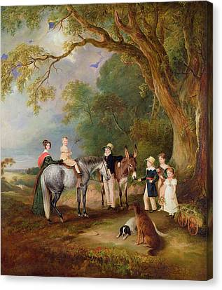 Miss Catherine Herrick With Her Nieces And Nephews Canvas Print by John E Ferneley