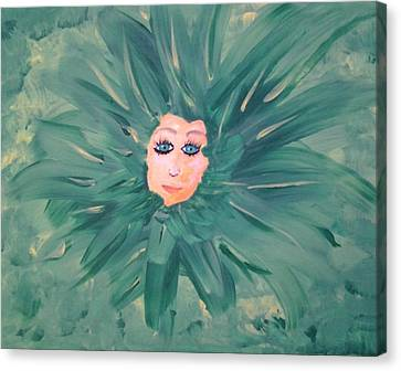 Miss Green Of The Flower People Canvas Print by Tonya Merrick