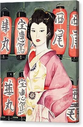 Miss Hanamaru At Osaka Festival Canvas Print by Judy Swerlick