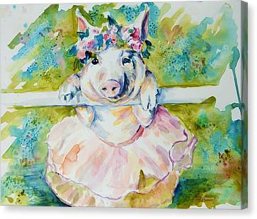 Miss Piggy At The Bar Canvas Print by P Maure Bausch