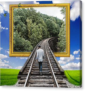 Train Tracks Canvas Print - Voyaging by Marvin Blaine