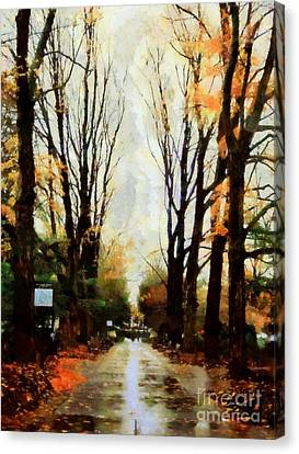 Missing You - Rainy Day Park Canvas Print by Janine Riley