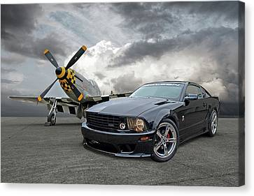 Mission Accomplished - P51 With Saleen Mustang Canvas Print by Gill Billington