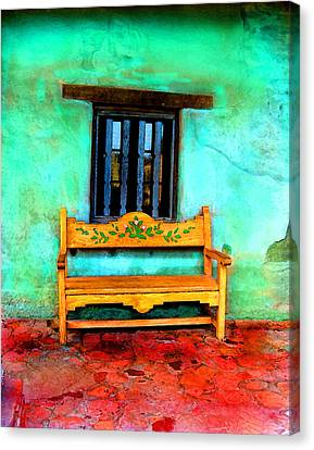 Canvas Print featuring the digital art Mission Bench by Timothy Bulone