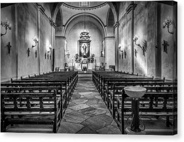 Mission Concepcion Chapel Bw Canvas Print by Joan Carroll