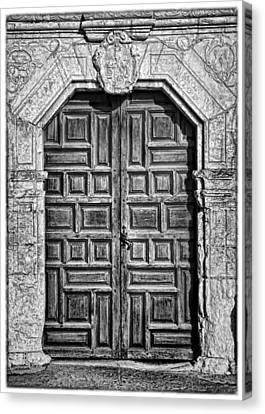 Mission Concepcion Doors - Bw W Border Canvas Print by Stephen Stookey