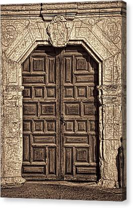 Mission Concepcion Doors - Sepia Canvas Print
