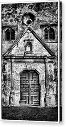 Mission Concepcion Front - Classic Bw W Border Canvas Print by Stephen Stookey