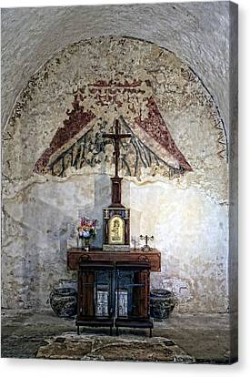 Crucifix Art Canvas Print - Mission Concepcion Sacristry by Stephen Stookey