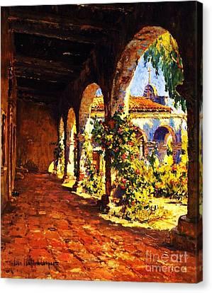 Mission Corridor San Juan Capistrano Canvas Print by Pg Reproductions