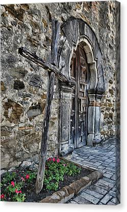 Mission Espada Cross And Door Canvas Print by Stephen Stookey
