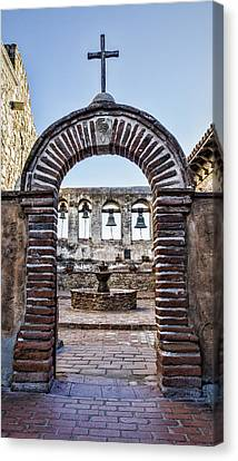 Mission Gate And Bells Canvas Print by Stephen Stookey
