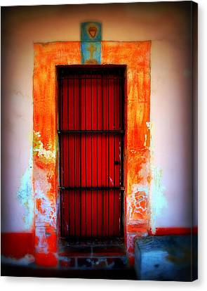 Mission Red Door Canvas Print by Perry Webster
