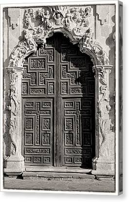 Mission San Jose Door - Bw Canvas Print by Stephen Stookey